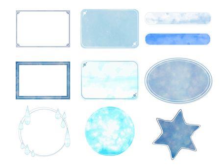 蓝色水彩般的框架