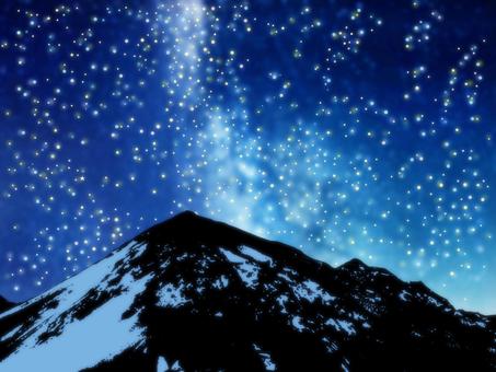 Starry sky and Mount Hotaka