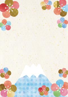 พลัมและภูเขาไฟฟูจิ _ พื้นหลังกระดาษญี่ปุ่น _ ประเภทแนวตั้ง 2182