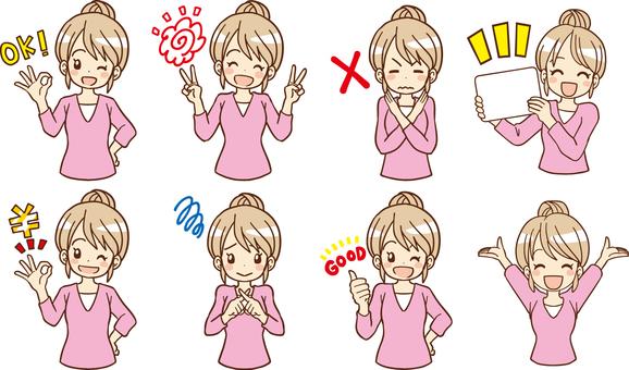 Set of 8 women doing hand signs
