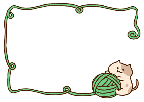 Cat and yarn _ green