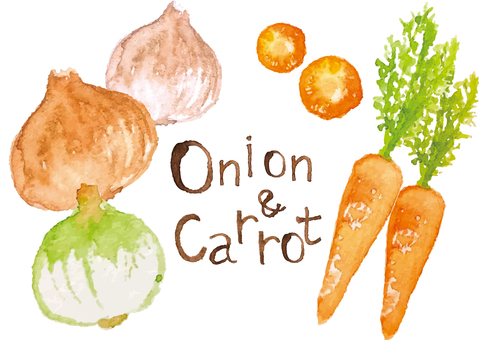 """Watercolor style"" onions and carrots"