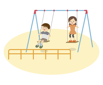 Children playing on the swing
