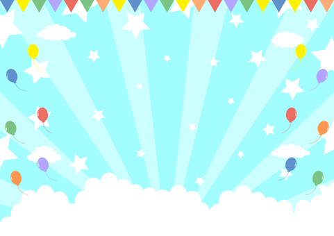 氣球國旗藍天星星集中線