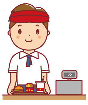 Hamburger shop clerk male upper body