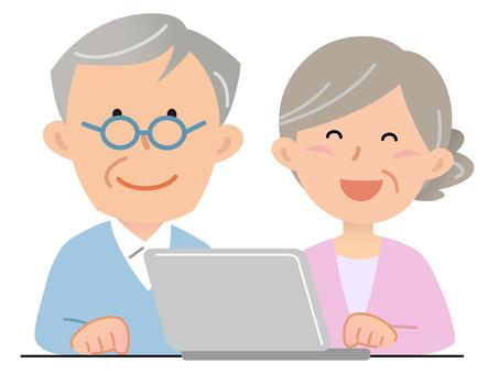 5913. Senior couple, personal computer