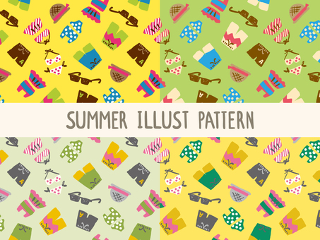 Swimwear illustration pattern set