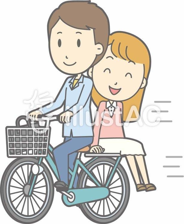 自転車男性-自転車二人-全身のイラスト