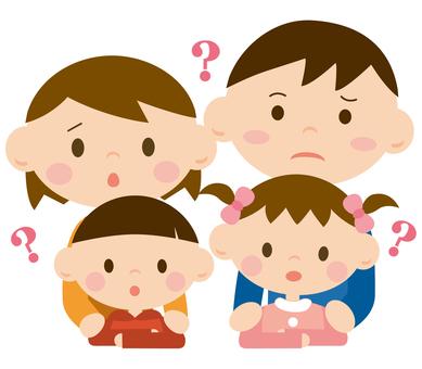 尷尬的父母和孩子(上半身)