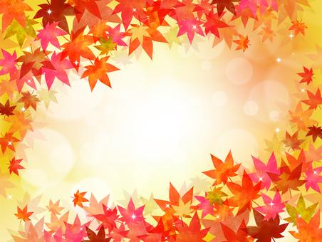 背景 秋 紅葉 もみじ 葉 フレーム