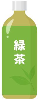 In plastic bottle of green tea _