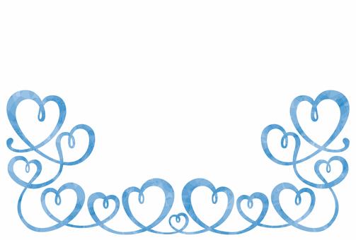 ハート/装飾フレーム/ブルー