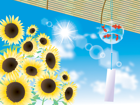 Wind bells and sunflower