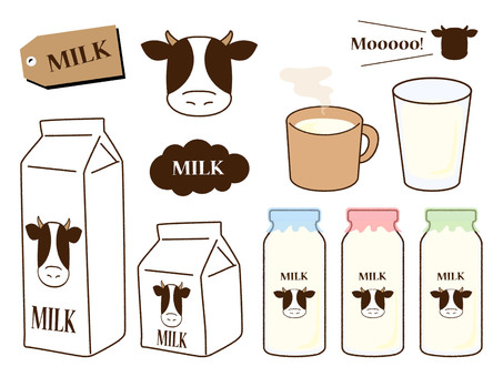 Milk illustration set