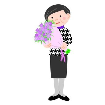 Veteran women holding flowers