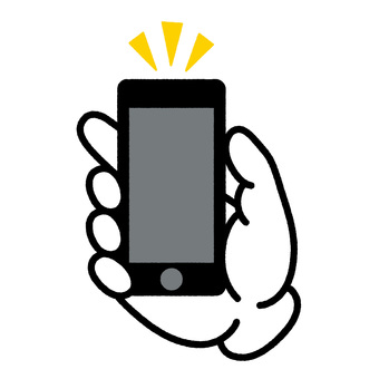 Smartphone hand line drawing