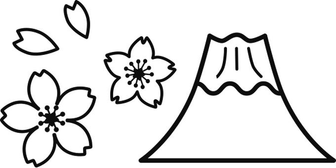 Cherry blossoms and Fuji icon