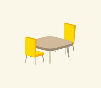 Illustration of a yellow chair and a desk