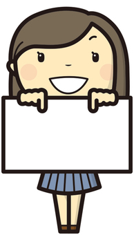Girl student board holding 1