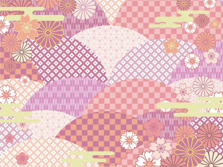 Japanese pattern background (colorful) 02