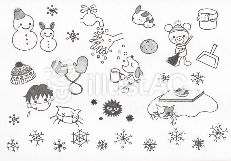 季節のモノクロカット集冬イラスト No 638099無料イラストなら