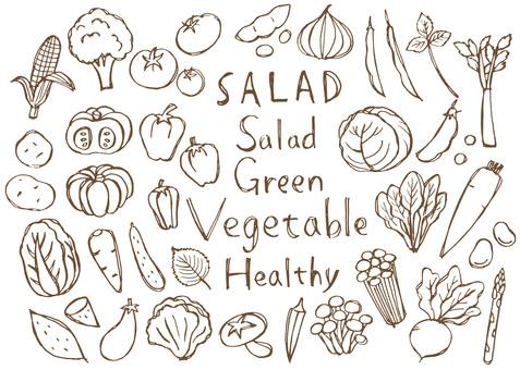 蔬菜手绘棕色版本