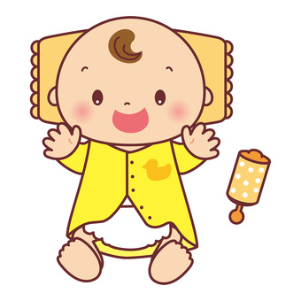 Smiling baby and rattle illustration