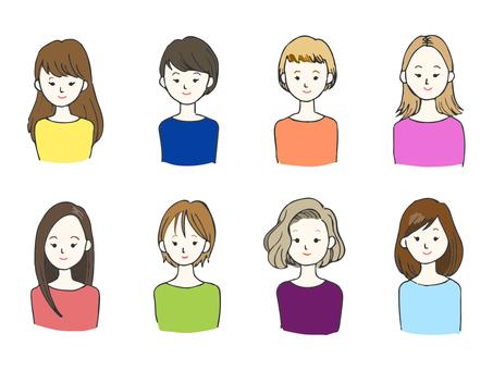 各種髮型的女人
