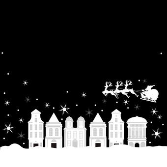 クリスマス、街並み サンタクロース 背景