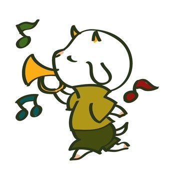 Goat blowing a trumpet
