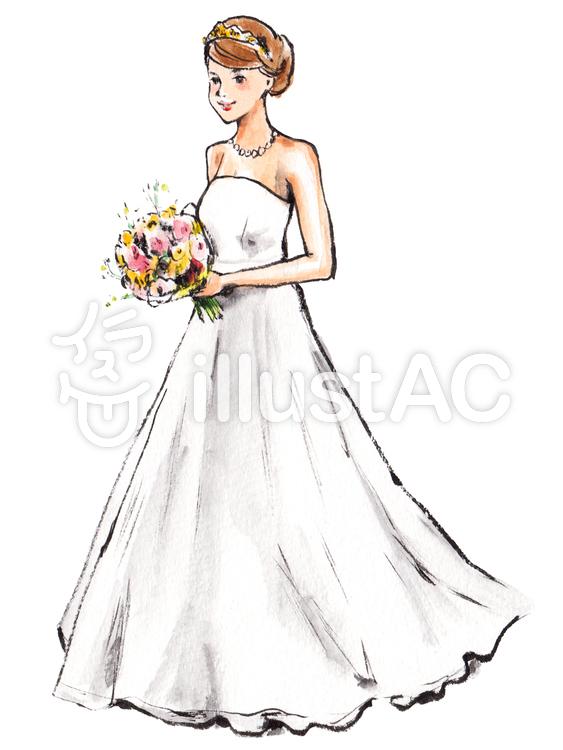 ウエディングドレスの女性1イラスト No 804064無料イラストなら