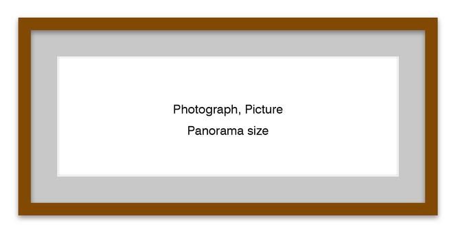 Panorama frame brown (gray mat)