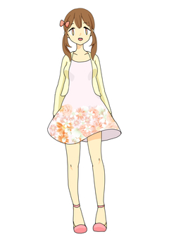 Flower pattern one piece girl