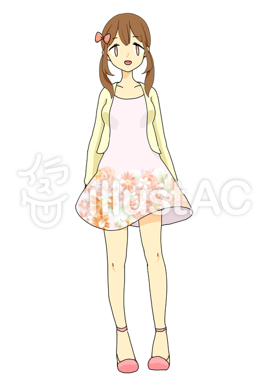花柄ワンピースの女の子イラスト No 268812無料イラストなら