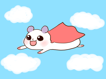 Hamster flying in the sky