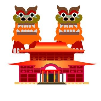Shuri Castle and Shisa
