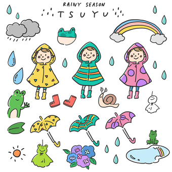 Rainy season_illustration set