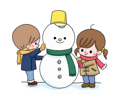 Boy and girl making a snowman