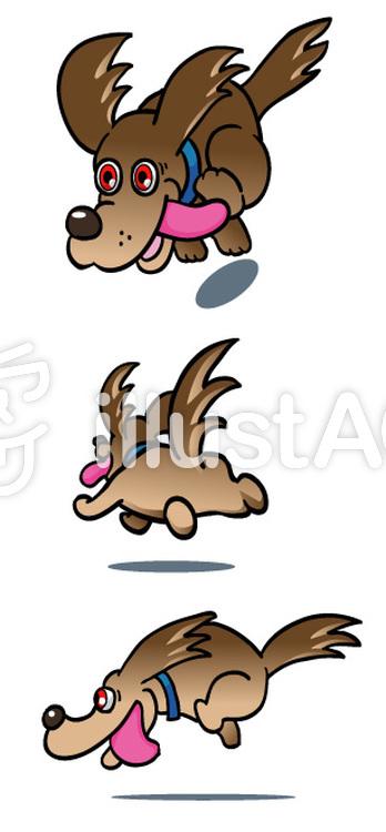 疾走する犬のイラスト