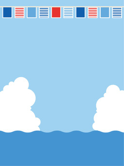 Sea and sky, clouds and flags 6