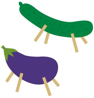 Obon's spirit horse eggplant and cucumber
