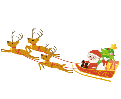 Santa Claus on a reindeer and sled
