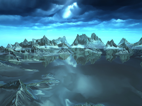 Fantastic fantasy landscape (ice lake)