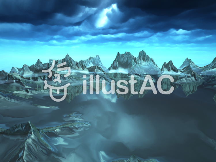 幻想的なファンタジーな景観(氷の湖)のイラスト