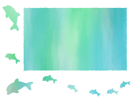 Watercolor style dolphin frame