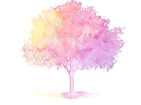 Rainbow-colored tree