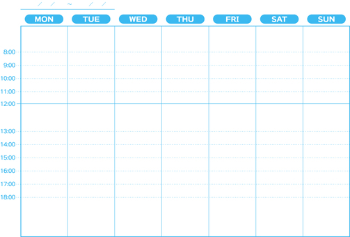 Weekly schedule Monday beginning
