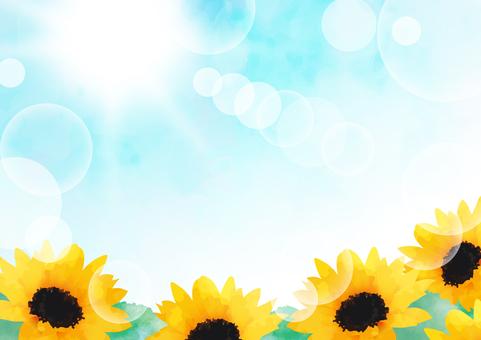 Summer sky and sunflower frame 3