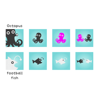 Business icons (octopus and angler)