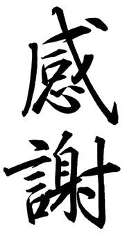 """Handwritten calligraphy """"thank you"""" (vertical)"""